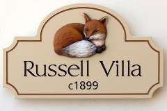 Russell Villa House Name Sign
